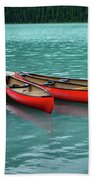 Lake Louise Canoes Beach Towel