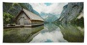 Lake Obersee Boat House Beach Towel