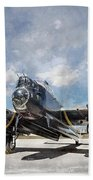 Lancaster Engine Test 2 Beach Towel by Brad Allen Fine Art