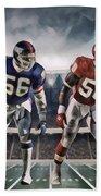 Lawrence Taylor New York Giants And Derrick Thomas Kansas City Chiefs Abstract Art 1 Beach Towel