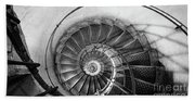 Lblack And White View Of Spiral Stairs Inside The Arch De Triump Beach Towel