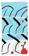 Light Blue Red  Beach Towel