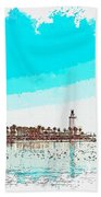 lighthouse 9, watercolor by Adam Asar Beach Towel