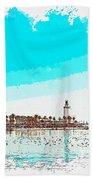 lighthouse 9, watercolor by Adam Asar Beach Sheet