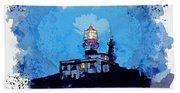 Lighthouse, Watercolor, C2019, By Adam Asar - 19 Beach Towel