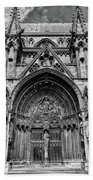 Lincoln Cathedral Side Entrance Monochrome Beach Towel by Scott Lyons