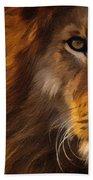 Lion Portrait Beach Sheet