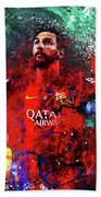 Lionel Messi In Barcelona Kit Beach Towel