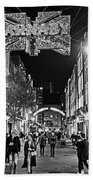 London Nightlife Carnaby Street London Uk United Kingdom Black And White Beach Towel