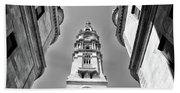 Looking Up - City Hall Court Yard In Black And White Beach Towel