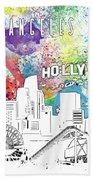 Los Angeles Skyline Panorama Watercolor Beach Towel