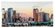 Los Angeles Skyline Sunset - Panorama Beach Towel