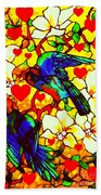 Love Birds In The Love Tree With Hibiscus Beach Towel
