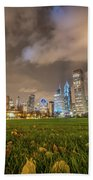 Low Angle Picture Of Downtown Chicago Skyline During Winter Nigh Beach Towel