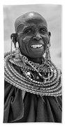 Maasai Woman In Black And White Beach Towel