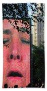 Man Face Crown Fountain Chicago Beach Towel