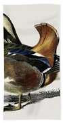Mandarin Duck  Aix Galericulata Illustrated By Charles Dessalines D' Orbigny  1806-1876 1 Beach Towel