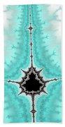 Mandelbrot Fractal Black Aqua White Vertical Beach Towel