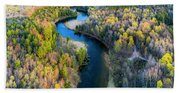 Manistee River From Above In Spring Beach Sheet