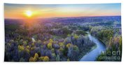 Manistee River Sunset Aerial Beach Towel