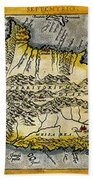 Map Of Crete 1584 Beach Towel