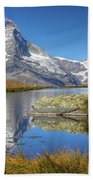 Matterhorn From Lake Stelliesee 07, Switzerland Beach Towel