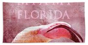 Miami Florida- Pink Flamingo Beach Towel