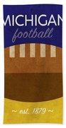 Michigan Football Minimalist Retro Sports Poster Series 001 Beach Towel