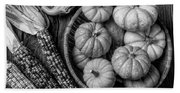Mimi Pumpkins In Wicker Bowl Black And White Beach Sheet