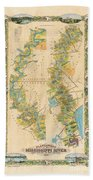 Mississippi River Historic Map Lousiana New Orleans Baton Rouge Map Farming Plantation Hand Painted  Beach Towel