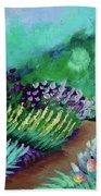 Misty Garden Path Beach Towel by Jacqueline Athmann