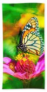 Monarch Butterfly Impasto Colorful Beach Towel by Don Northup