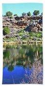 Montezuma's Well Az Water Blue Sky Reflections Stone Wall 3192019 5253. Beach Towel