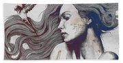 Monument - Red 'n Blue - Sleeping Beauty, Woman With Skyline Tattoo And Bird Beach Towel