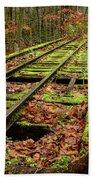 Mossy Train Track In Fall Beach Towel
