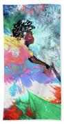 Mother And Child In Africa Beach Towel by Miki De Goodaboom
