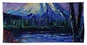 Mount Fuji - Textural Impressionist Palette Knife Impasto Oil Painting Mona Edulesco Beach Sheet