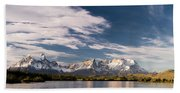 Mountain Range At Sunset Seen From Rio Beach Towel