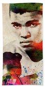Muhammad Ali Watercolor Portrait Beach Sheet