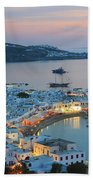 Mykonos Town At Sunset Mykonos Cyclades Greece  Beach Towel