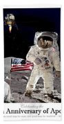 Nasa 50th Anniversary Of The Apollo 11 Lunar Landing By Artist Todd Krasovetz Beach Sheet