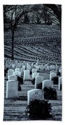 National Cemetery In Black And White Beach Towel by Tom Singleton