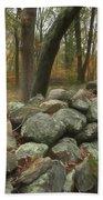 New England Stone Wall 1 Beach Towel by Nancy De Flon