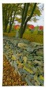 New England Stone Wall 2 Beach Towel by Nancy De Flon