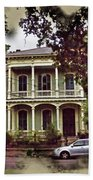New Orleans Home In Watercolor Beach Towel