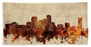 New Orleans Skyline Sepia Beach Towel