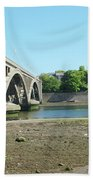 new road bridge across river Tweed at Berwick-upon-tweed Beach Towel