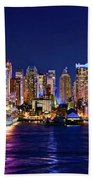 New York City Nyc Midtown Manhattan At Night Beach Towel