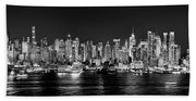 New York City Nyc Skyline Midtown Manhattan At Night Black And White Beach Towel