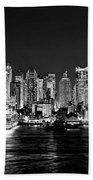 New York City Nyc Skyline Midtown Manhattan At Night Black And White Beach Towel